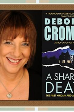 "Deborah Crombie and ""A Share in Death"" cover"