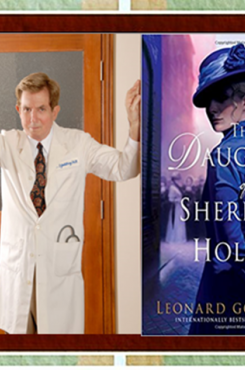 """Author Leonard Goldberg and """"The Daughter of Sherlock Holmes"""" book cover"""