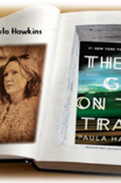 Paula Hawkins with Girl on the Train cover