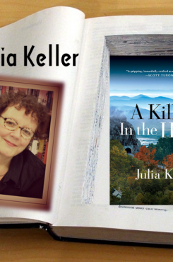 Julia Keller with A Killing in the Hills book safe