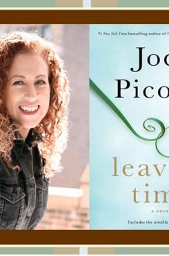 "Jodi Picoult with ""Leaving Time"" cover"