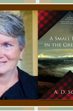 """A.D. Scott with """"A Small Death in the Great Glen"""" cover"""
