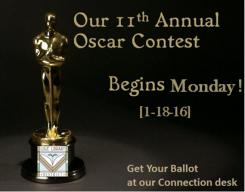 Oscar Contest Begins Monday 1-18-16