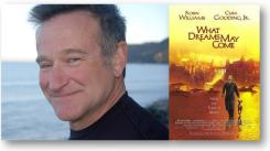 Robin Williams with What Dreams May Come cover