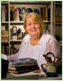 Author Margaret Maron at her desk