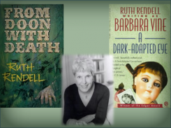 Ruth Rendell with book covers